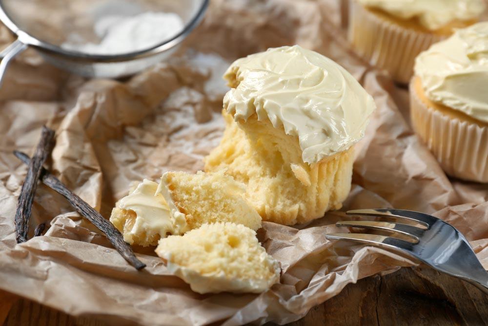Vanilla cupcakes ready to eat