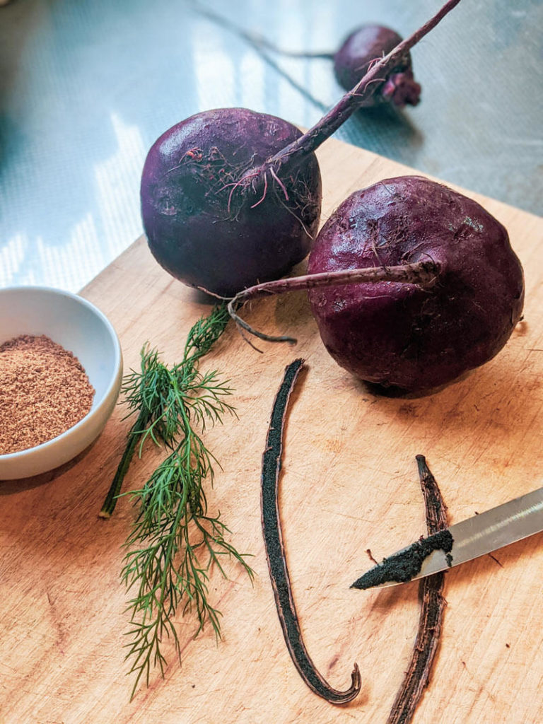 Ingredients for Vanilla bean and balsamic glazed beetroots