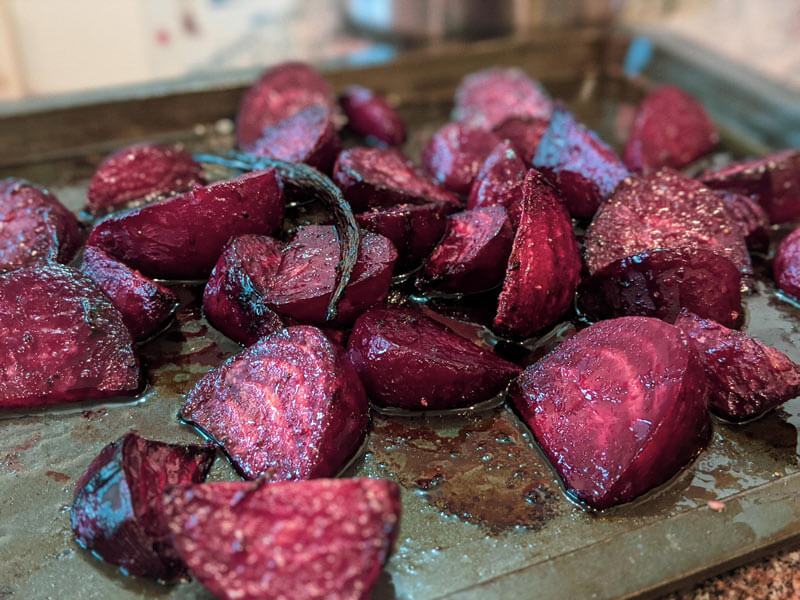 Beets and vanilla balsamic glaze in roasting pan